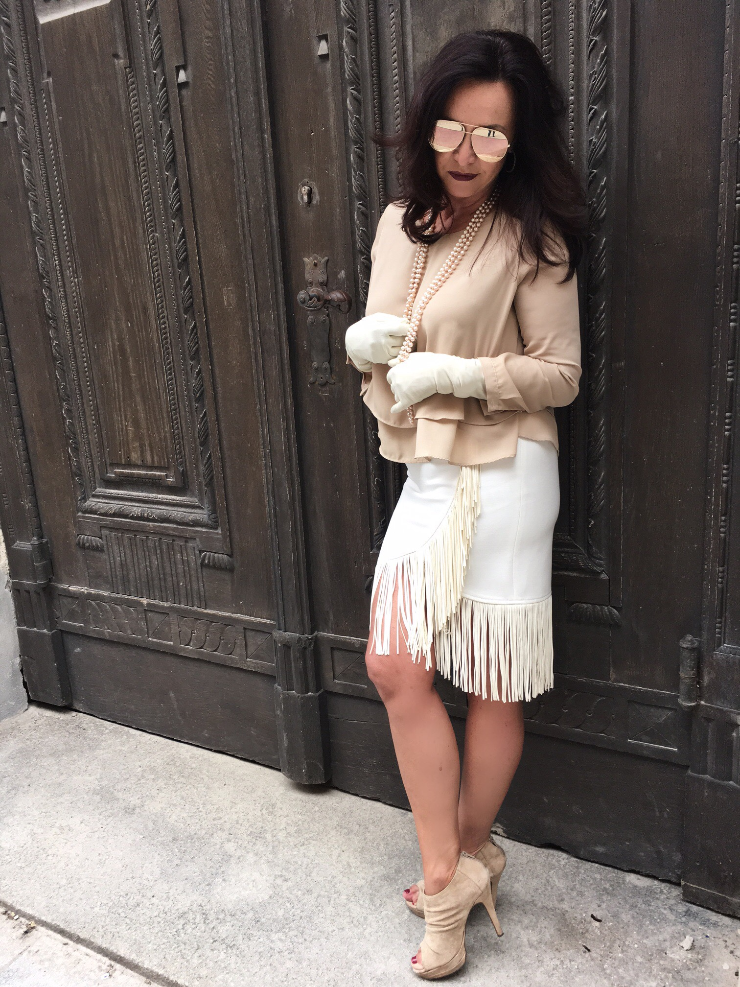 Maje skirt, zara top, dior eyewear