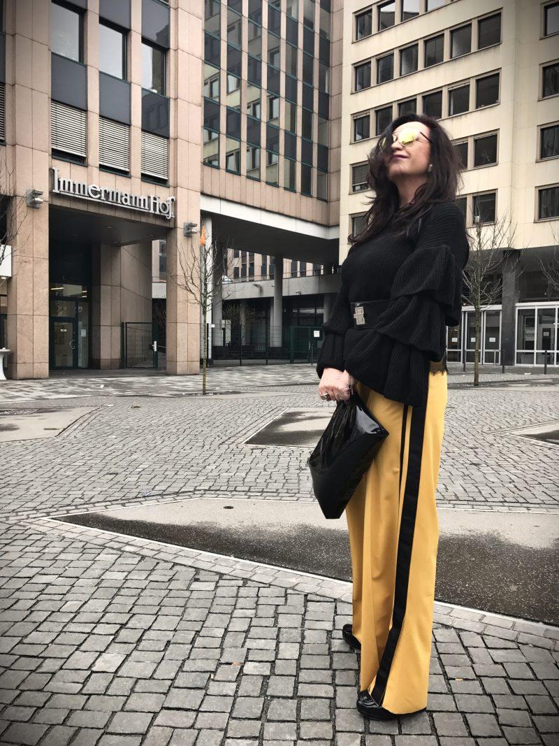 Zara, mustard, palazzo pants, Dior, ageless, Fashionbog