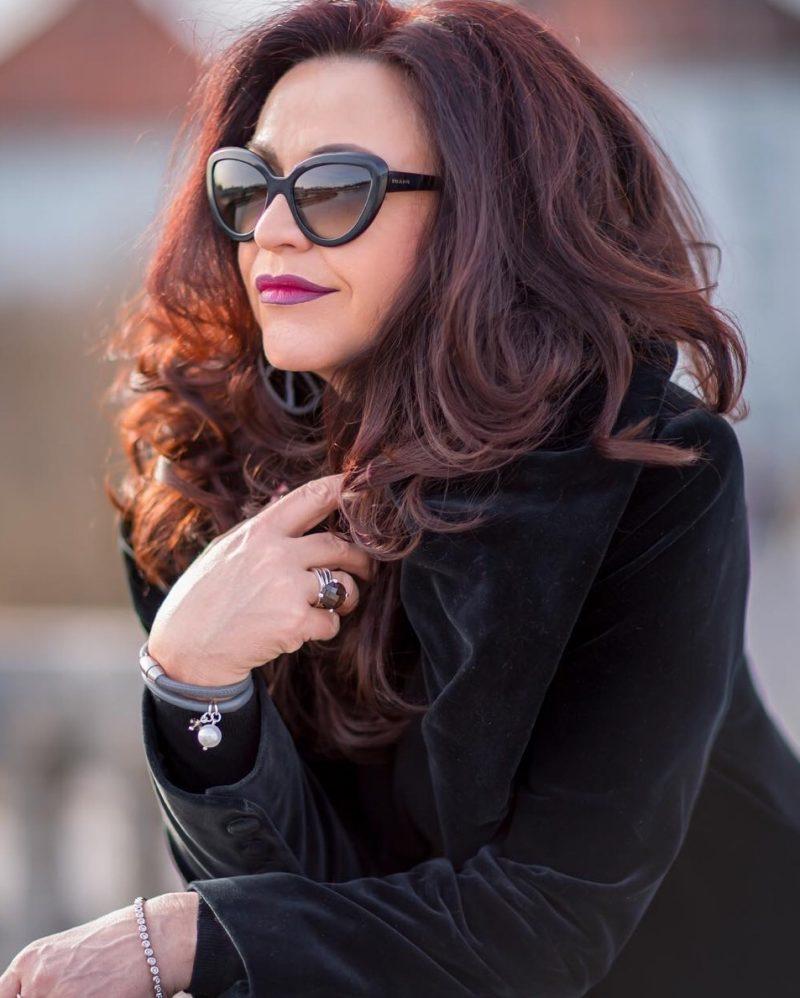 Prada eyewear, Velvel coat, Nicowa, ageless style,