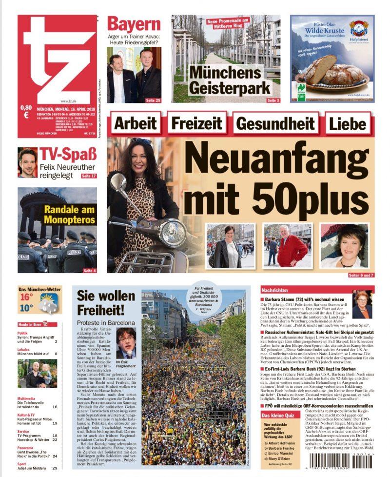 Pressearbeit, presse, Zeitungsartikel, TZ München, Titelstory, Titelseite, Neuanfang mit 50 plus,bestager, bestage