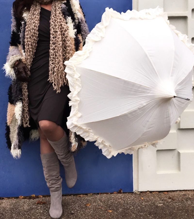 Umbrella, fashion. Ruffles, neon rose, asos
