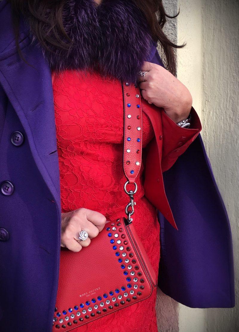 Marc jacobs bag, cross body, purple, red