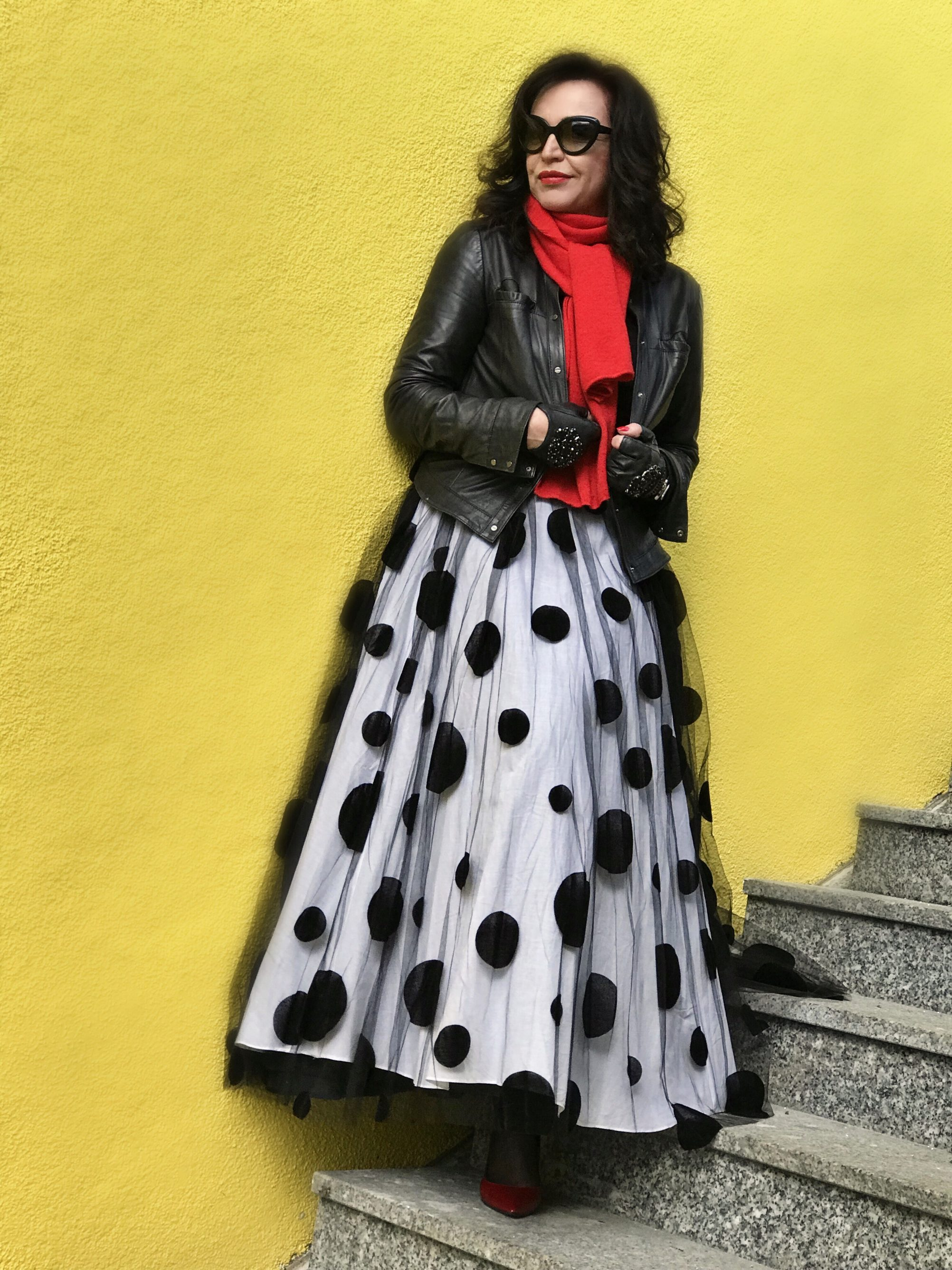 Tull skirt with Polka dots