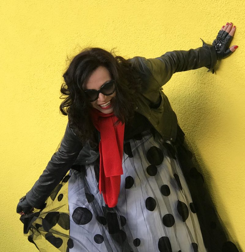 Tull and Polka dots, Asos skirt, tull skirt, Tüllrock, Buffalo shoes, Prada shades, PRADA, Lagerfeld gloves, Kenneth Cole Jacket, influencer