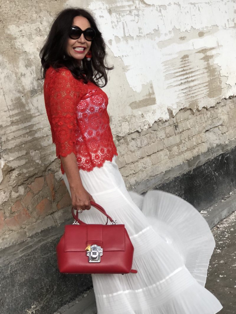 White skirt Alison Sheri, Red Top Zara, Shoes Prada, Shades and bag Dolce & Gabbana, Ladies Fashion, Style for Women, ageless fashion, Fashionblog Augsburg, streetstyle, summerlook, streetfashion, Damenmode