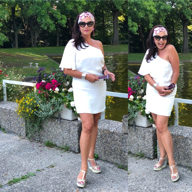 One shoulder dress Mango, Shoes Prada, Hermès bag, hairband Gucci, shades Prada, mystyle, summerlook, streetchic, earrings, melon, styleatanyage, ageless, fashion fot ladies, elegant fashion, Summerstyle, baglover, Damenmode, bestage, Bekleidung
