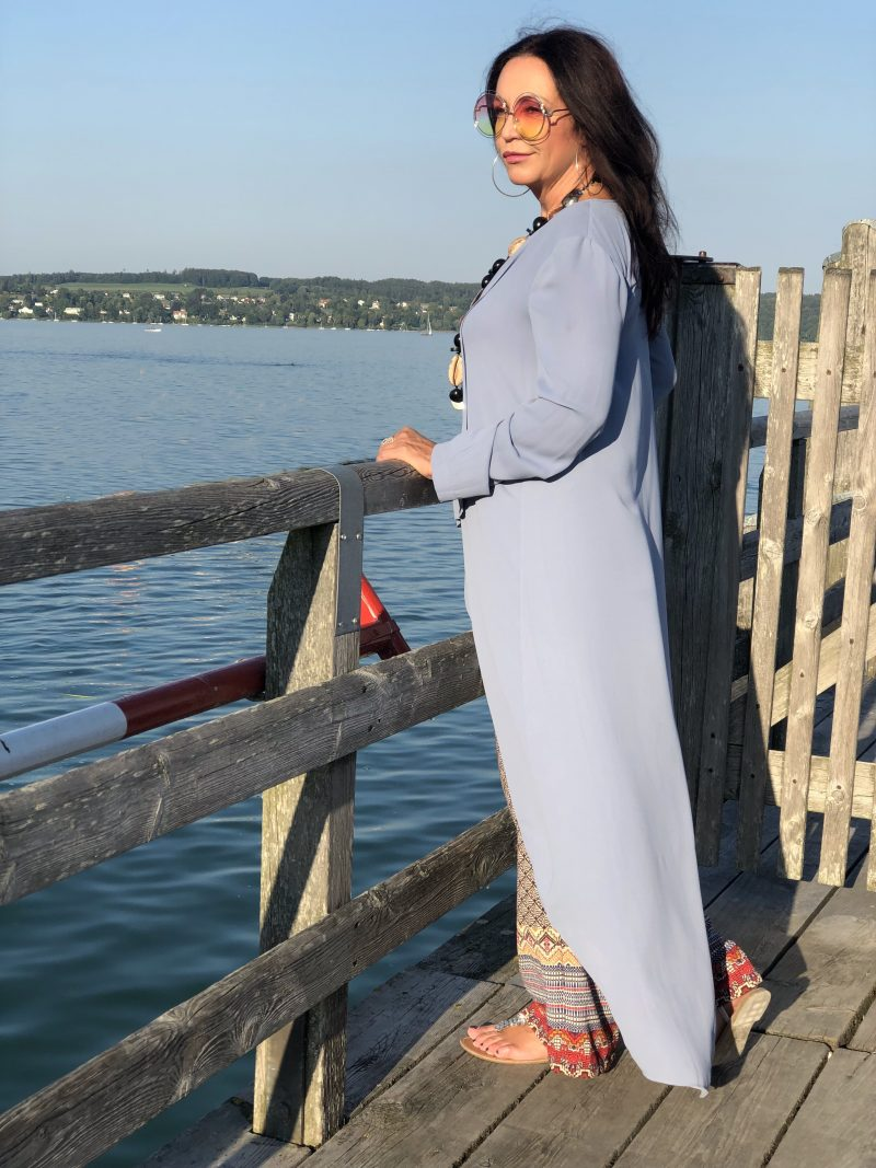 Bcbgmaxazria dress, Mango pants, Asos shoes, Chloé shades, boho style, mystyle, bestage, ladies fashion, stylish, ageless fashion, summerlook, streetchic, Damenmode, Chanel bagpack