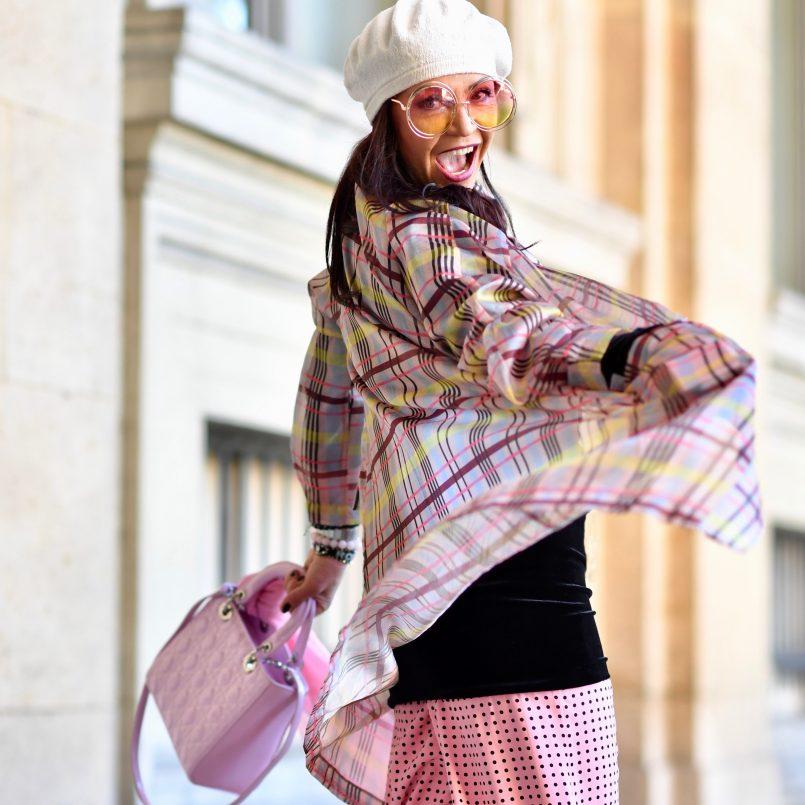 Dior in Paris, bag, Zara, Talbot Runhof, Chloe shades, parisienne, Barett, Baskenmütze, Paris Fashion week, pfw, Karo, Polkadots, mystyle, styleatanyage, Fashionlbog Augsburg