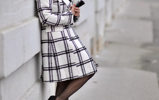 Black and white chequered coat