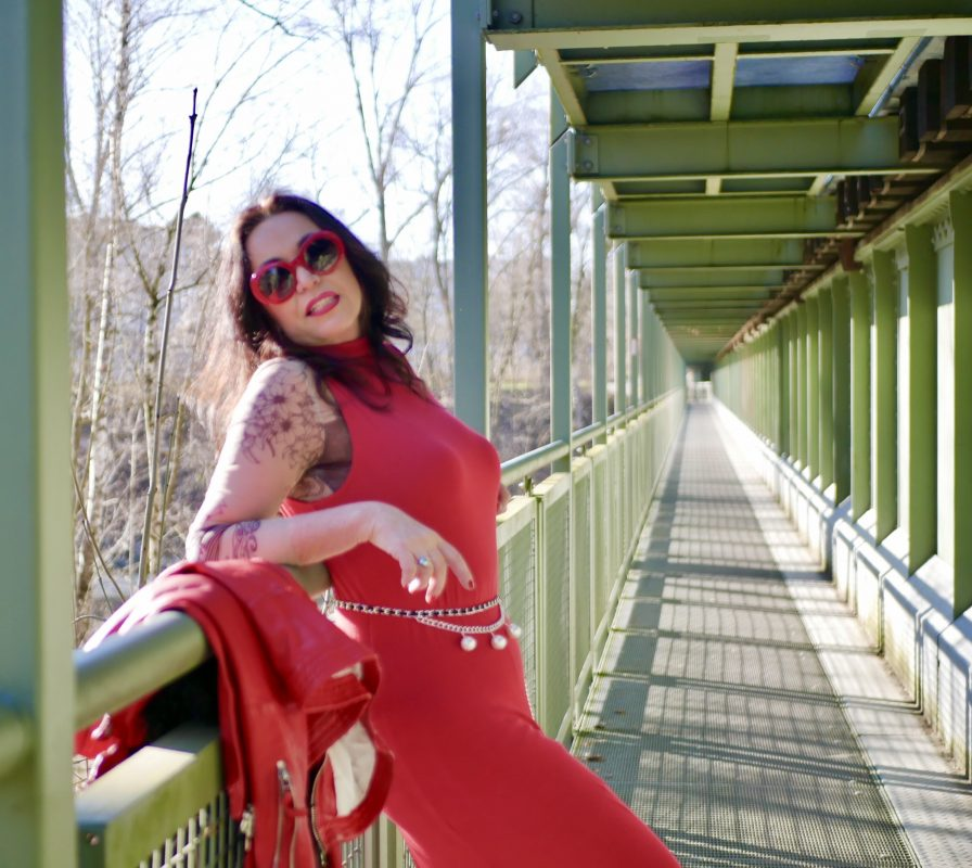 Freaky Nation Jacket, red dress Mango, Chanel belt, Chanel shades, Nine West shoes, mystyle, ageless fashion, streetstyle, streetfashion, style for ladies, red look, fashionblog Augsburg, cochastyle, Lederjacke, Top RO Skinware
