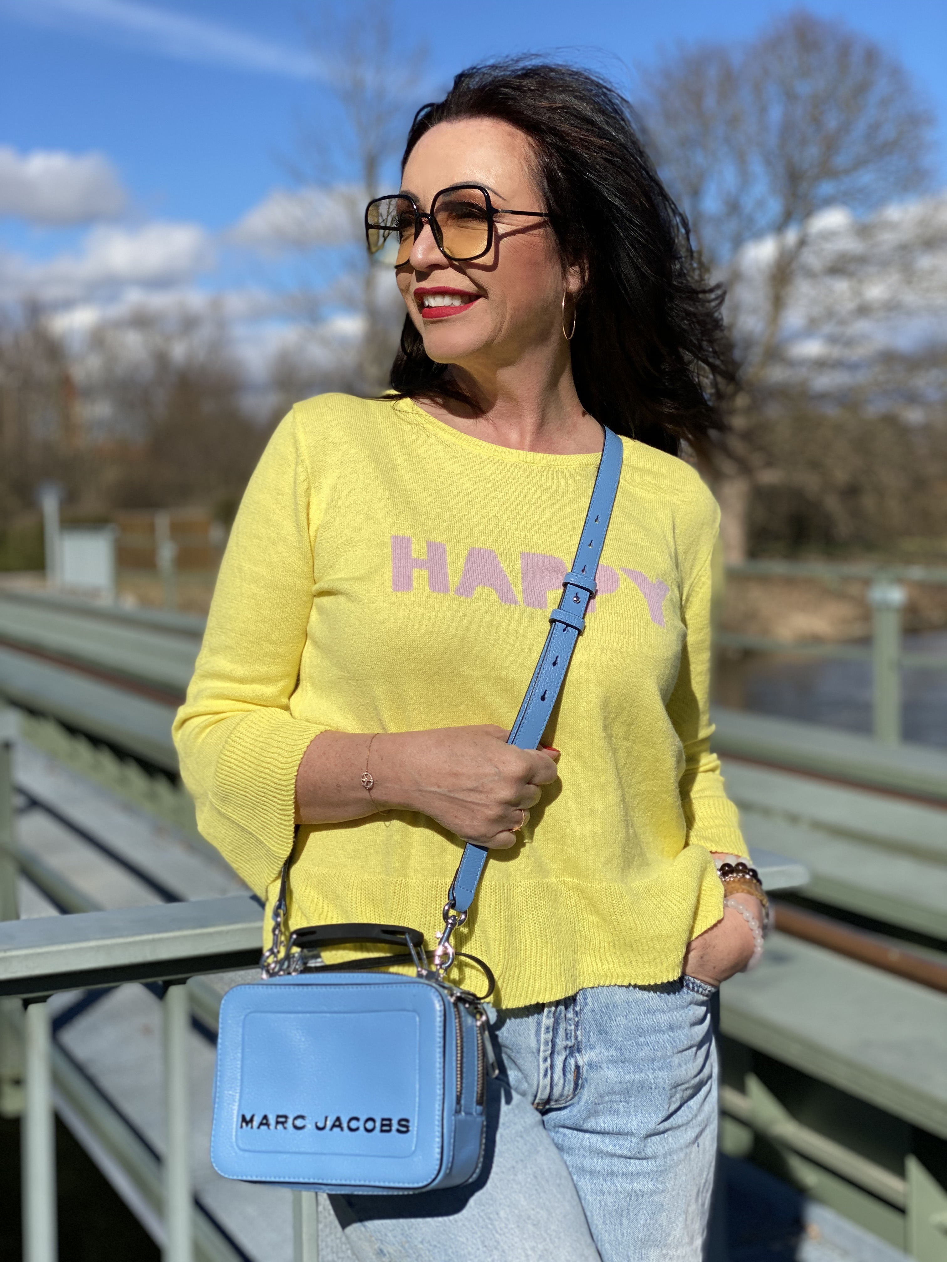Spring fashion 2020, Grace fashion sweater, Marc Jacobs bag, Dior Stellaire shades, designer wear, Mango Jeans, style for ladies, ageless fashion, cochastyle, streetfashion, spring trends, 2020, yoox shoes, mystyle, jewelryblogger, eyewearblogger, streetwear