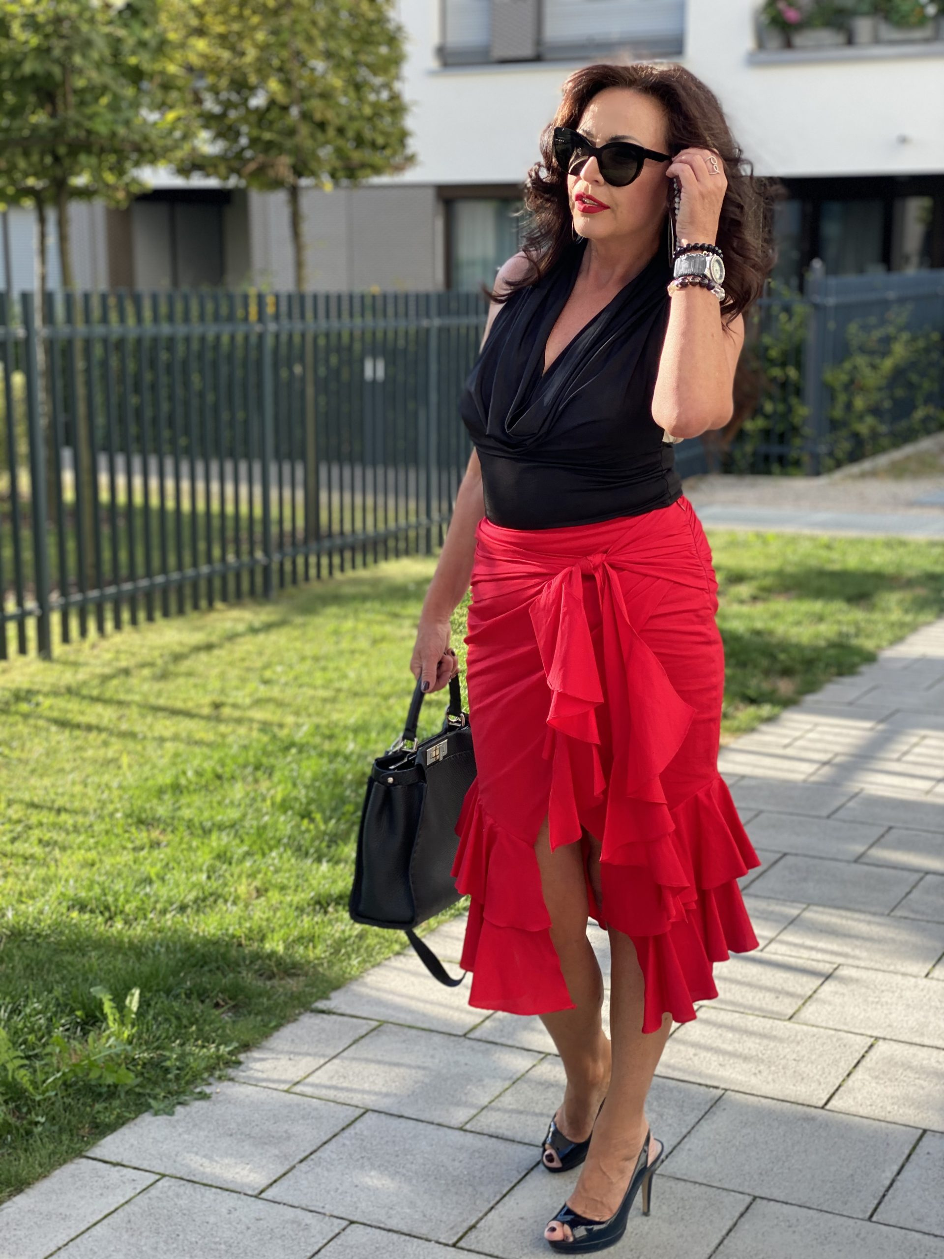 Intermix skirt, Stefanel top, Andy Wolf shades, Fendi Bag, Nine West shoes, mystyle, Fashion for ladies, Summerlook, Fashionblog Augsburg, cochastyle