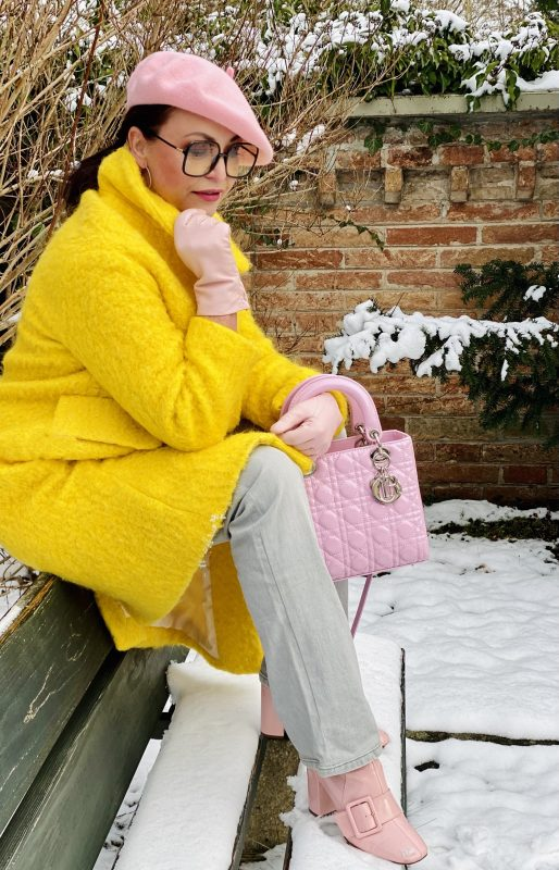 Pink and Yellow, Pink bag Dior, Pink Beret Benetton, Yellow coat Mango, Yeans 7 for all Mankind, Shoes Asos, st
